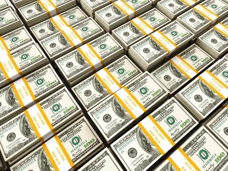 heap of dollar: Background of rows of US dollars bundles
