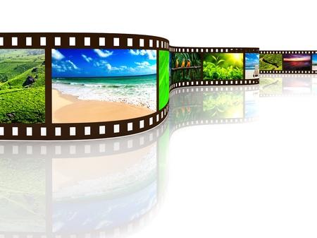 diaporama: Pellicules photographiques avec la r�flexion sur blanc Banque d'images