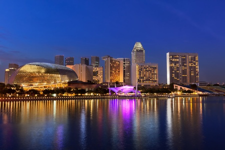 Singapore skyline panorama at Marina Bay photo