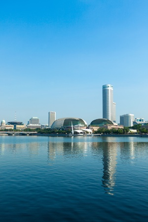 esplanade: Singapore skyline at Marina Bay in the day Stock Photo