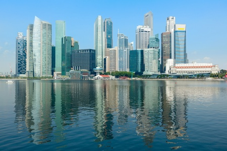 Singapore skyline of business district and Marina Bay in day photo