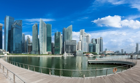 Singapore skyline of business district and Marina Bay panorama. Ultra wide angle photo