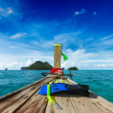 watercraft: Snorkeling set on boat, sea, island. Thailand