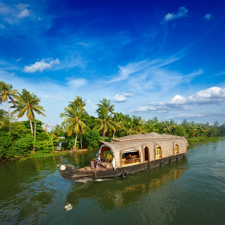 kerala: Houseboat on Kerala backwaters. Kerala, India Stock Photo