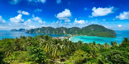 Panorama of tropical island. Phi-Phi island, Thailand