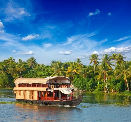 south india: Houseboat on Kerala backwaters. Kerala, India Stock Photo