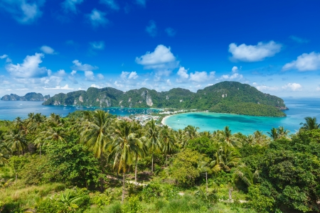 Tropical island with resorts - Phi-Phi island, Krabi Province, Thailand photo