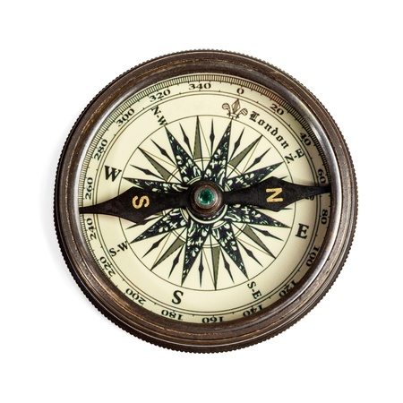 navigational: Old vintage retro golden compass isolated. Top view