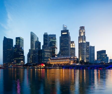 marina bay: Singapore skyline and Marina Bay in evening