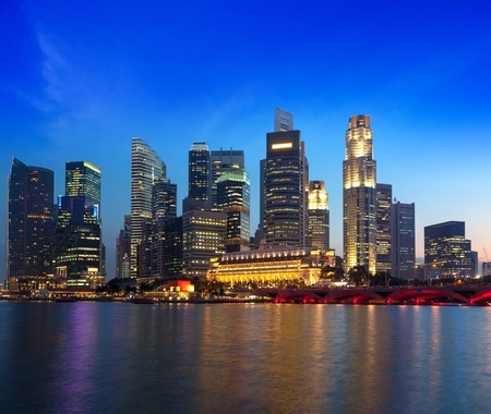 Singapore skyline and river in evening photo