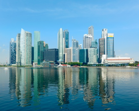daytime: Singapore skyline of business district and Marina Bay in day