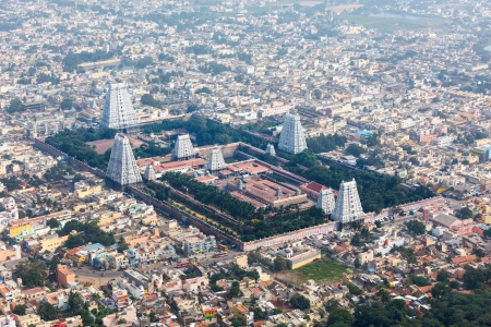 overpopulation: Hindu temple and indian city aerial view. Arulmigu Arunachaleswarar Temple, Tiruvannamalai, Tamil Nadu, India