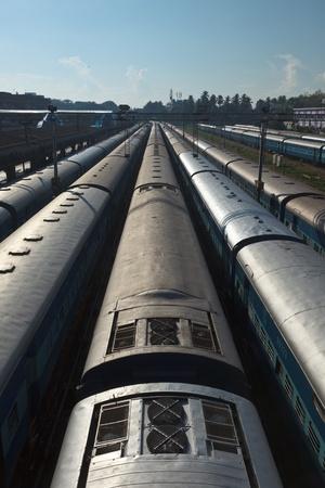 carriage: Trains at train station. Trivandrum, Kerala, India