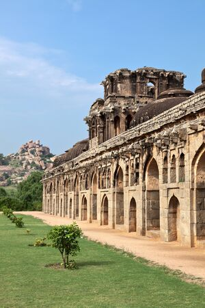 Ancient ruins of Elephant Stables, Royal Centre. Hampi, Karnataka, India Stock Photo - 15442600