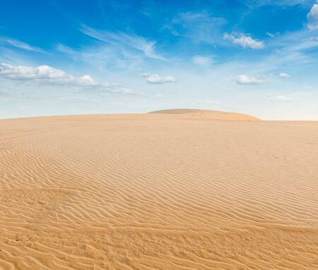 White sand dunes on sunrise, Mui Ne, Vietnam Stock Photo - 15446346