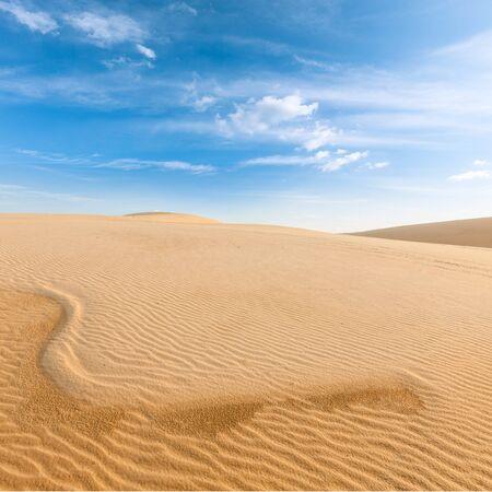 White sand dunes on sunrise, Mui Ne, Vietnam Stock Photo - 15446348