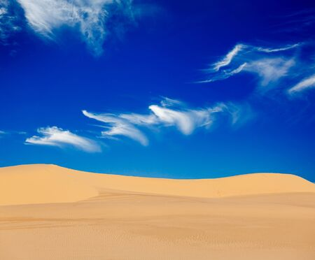 White sand dunes on sunrise, Mui Ne, Vietnam Stock Photo - 15446310