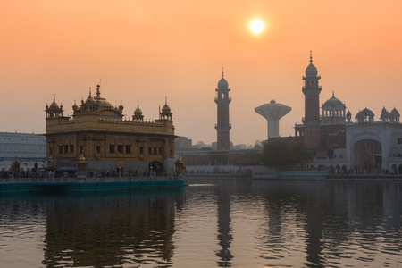 Sikh gurdwara Golden Temple (Harmandir Sahib) on sunrise. Amritsar, Punjab, India