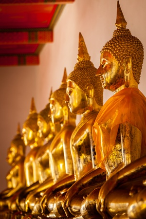 Row of sitting Buddha statues in Buddhist temple Wat Pho, Bangkok, Thailand photo