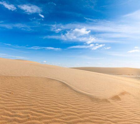 ne: White sand dunes on sunrise, Mui Ne, Vietnam Stock Photo