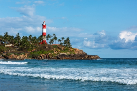 Lighthouse.  and sea. Kovalam (Vizhinjam) Kerala, India Stock Photo