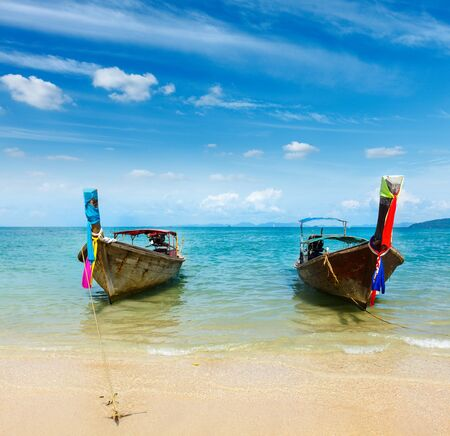Long tail boat on tropical beach Railay beach), Krabi, Thailand photo
