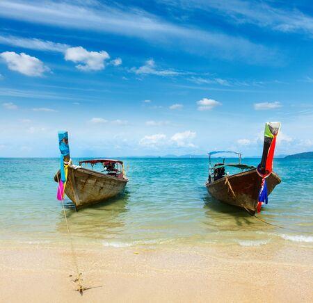 Long tail boat on tropical beach Railay beach), Krabi, Thailand Stock Photo - 16186152