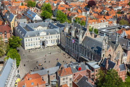 brugge: Aerial view of the Burg square with the City Hall. Bruges (Brugge) , Belgium