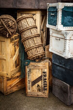 Vintage luggage bags, crates, boxes, suitcases