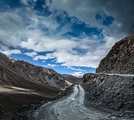 unsurfaced road: Dirt road in severe unpopulated Himalayas  Spiti valley,  Himachal Pradesh, India