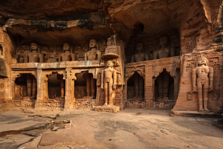 madhya pradesh: Rockcut Statues of Jain thirthankaras in rock niches near Gwalior fort  Gwalior, Madhya Pradesh, India