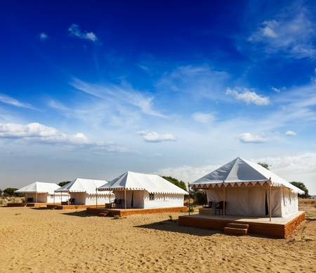 Tourist tent camp in desert  Jaisalmer, Rajasthan, India  photo