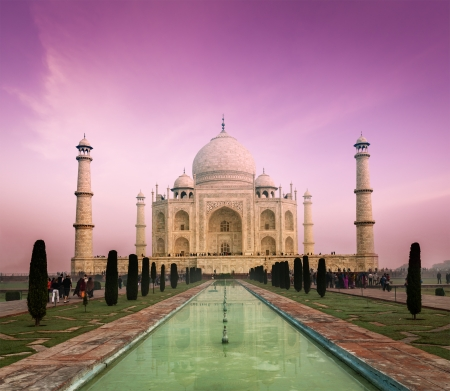 mahal: Taj Mahal on sunset, Indian Symbol - India travel background. Agra, Uttar Pradesh, India