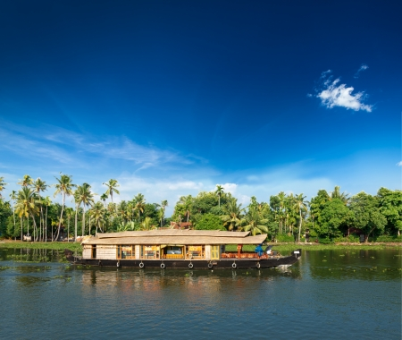 Kerala India travel background - Houseboat on Kerala backwaters. Kerala, India photo