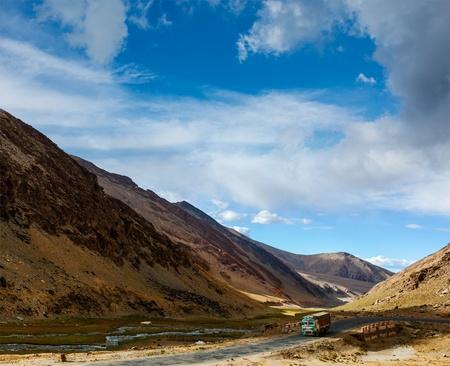 unsurfaced road: Indian lorry on Manali-Leh Road. Ladakh, India