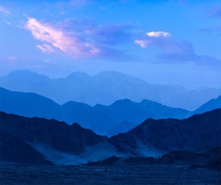 Blue Ridge Mountains: Himalayas mountains in twilight. Ladakh, Jammu and Kashmir, India Stock Photo