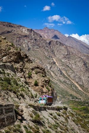 earthroad: Manali-Leh road in Indian Himalayas with lorry. Himachal Pradesh, India
