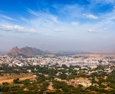 Holy city Pushkar aerial view from Savitri temple. Rajasthan, India photo