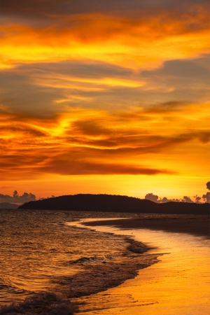 Tropcal beach sunset. Andaman sea,  Krabi, Thailand photo