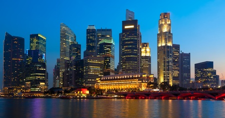 Panorama of Singapore downtown skyling in evening photo