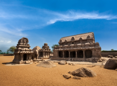monolithic: Five Rathas - ancient Hindu monolithic Indian rock-cut architecture. Mahabalipuram, Tamil Nadu, South India Stock Photo