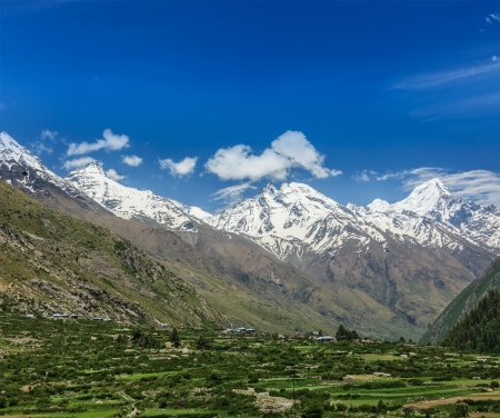 himachal pradesh: Valley in Himalayas. Sangla valley, Himachal Pradesh, India