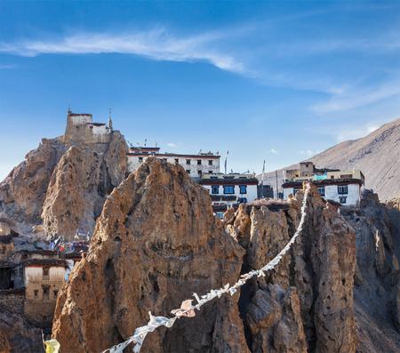 himalaya: Dhankar gompa (Tibetan Buddhist monastery) and prayer flags (lungta). Dhankar, Spiti valley, Himachal Pradesh, India