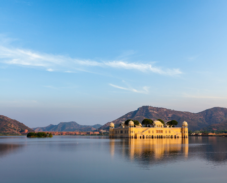 sagar: Rajasthan landmark - Jal Mahal (Water Palace) on Man Sagar Lake on sunset.  Jaipur, Rajasthan, India
