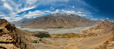 ki: Aerial panorama of Spiti valley and Key gompa in Himalayas. Spiti valley, Himachal Pradesh, India