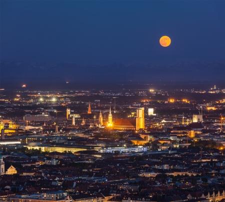 Night aerial view of Munich from Olympian. Munich, Bavaria, Germany