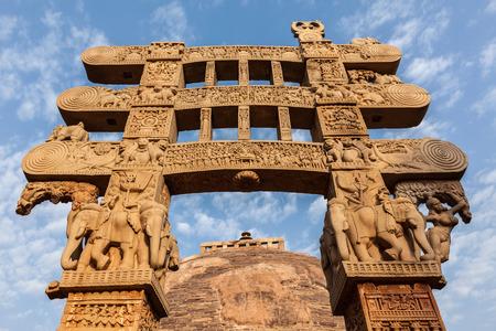 sanchi: Gateway decoration of Great Stupa - ancient Buddhist monument. Sanchi, Madhya Pradesh, India