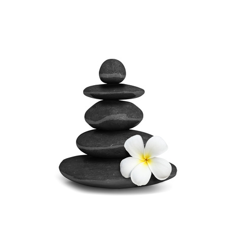 Zen mediation spa relax concept background - zen stones balance isolated on white Stock Photo - 23639351