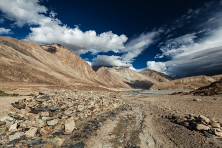 Himalayan landscape in Nubra valley in Himalayas. Ladakh,\ India