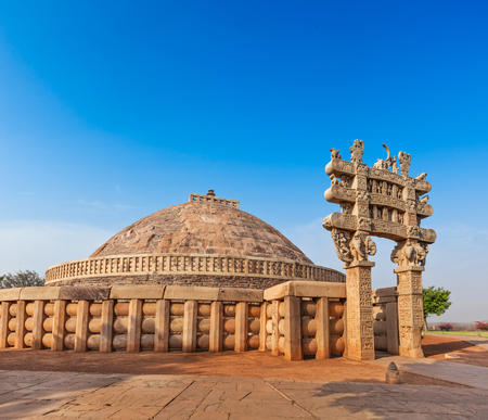 stupas: Great Stupa - ancient Buddhist monument. Sanchi, Madhya Pradesh, India